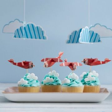 Vintage Red Plane Cake Toppers - pack of 10